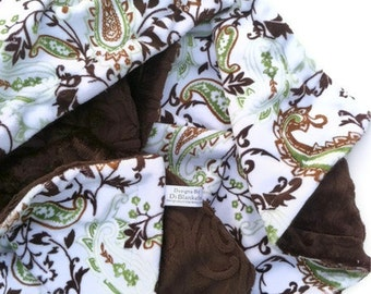 Infant Minky Baby Blanket ,Green Paisley, Carseat Blanket, Stroller Blanket Brown Baby Blanket, Boy Blanket, Girl Blanket Size  29 x 36