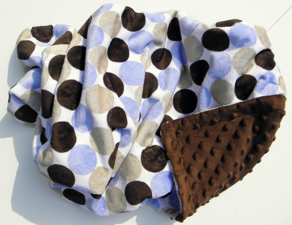 Minky Adult Blanket, Large Minky Blanket, Minky Adult Throw Blanket, Couch Blanket, Blue and Brown Minky Blanket, Gift For Him , 50 x 60 in
