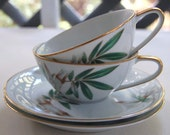 Vintage Teacups with Saucers Noritake Set of 2 Two 1950s Bamboo
