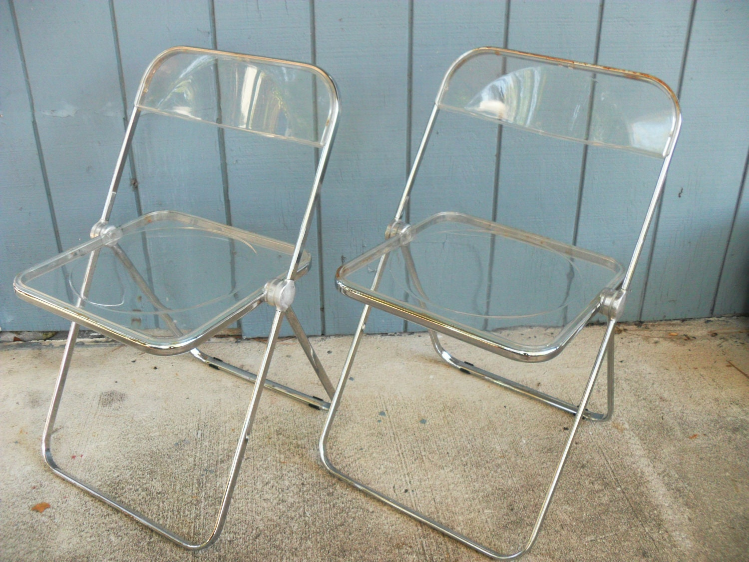 Acrylic Folding Chair 2 Plia Anonima Castelli Italy Lucite Chrome Folding  Chairs Mid