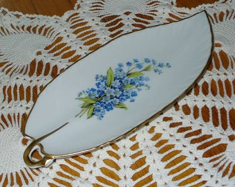 """Antique Limoges """"Tharaud"""" Dish Forget Me Not Motif"""