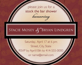 Stock the Bar drink coaster invitation