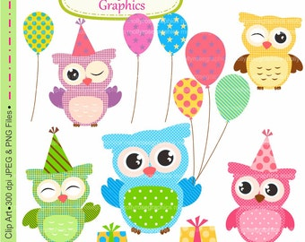 SALE owls clip art , Digital Clip Art owls with balloons, Personal and Small Commercial Use, Card Making, Scrapbooking  M.22