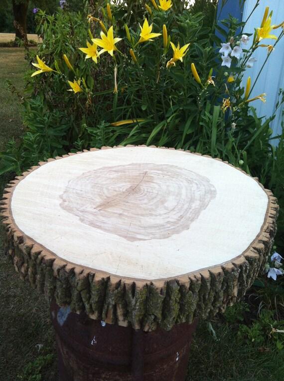 "20"" Rustic wood cake stand tree slice"