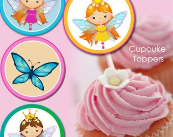 2 INCH CUPCAKE toppers - Butterfly Fairy. Printable cupcake toppers, cake toppers fairy party printables. Butterflys. Cute girl.