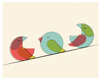 Mid Century Three Bird Print - Red Tones