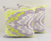 Set of 2  LILAC CHARTREUSE PILLOWS 16x16 Decorative Ikat Throw Pillows A404-1ab1