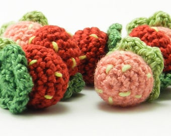 Miniature Strawberry - Amigurumi Fruit Plush with Optional Key Chain or Phone Charm Attachment