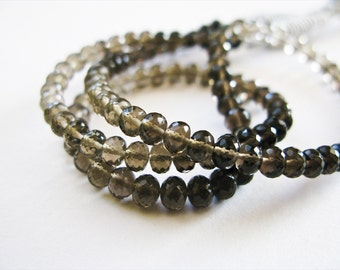 Smoky Quartz Rondelles, AAA Gems, Micro Faceted, AAA, 3.5-4, 16 Inches