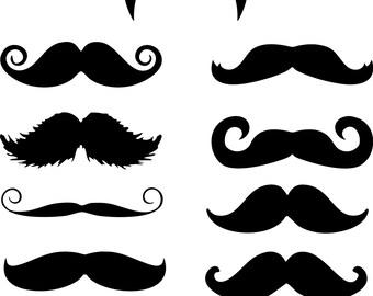 11 Funny Mustache Moustache vinyl decal stickers