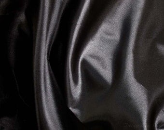 "Black Costume Satin Fabric by the yard - 64"" extra wide yardage - Halloween, school plays, costume parties, holiday decor, show tablecloth"