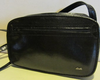 Lovely vintage black leather cross over bag, with very long strap, near mint