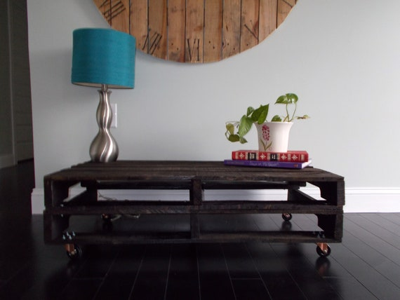 ON SALE Very Dark Walnut Stained Pallet Coffee Table
