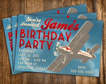 Retro Style Airplane Birthday Invitation