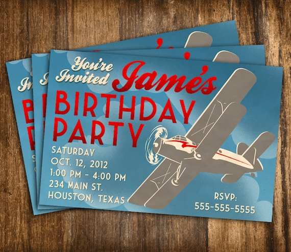 Items Similar To Airplane Birthday Invitation: Items Similar To Retro Style Airplane Birthday Invitation