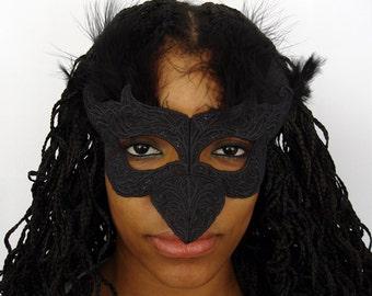 Black Raven Mask, Feathered Bird Mask, Edgar Allen Poe's Raven Mask...Not just for Halloween