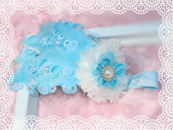 Blue Nagorie feather headband, baby feather headbands, baby headbands, newborn headbands, photography prop