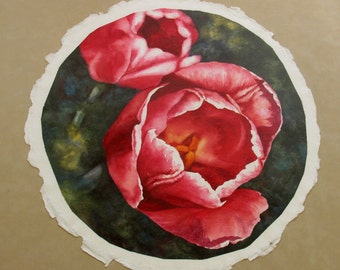 Red Tulips original watercolor by Connie Glowacki