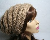 Hand Knit Alpaca Swirl Slouchy Hat in Wheat