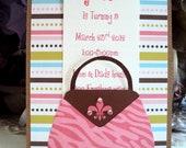 Handbag Invitation,Childrens Birthday Invitation, Shower Invitation