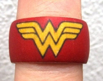 Wonder Woman -- adjustable wood finger ring