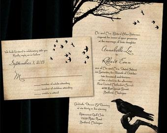 Custom Raven Halloween Wedding Invitations