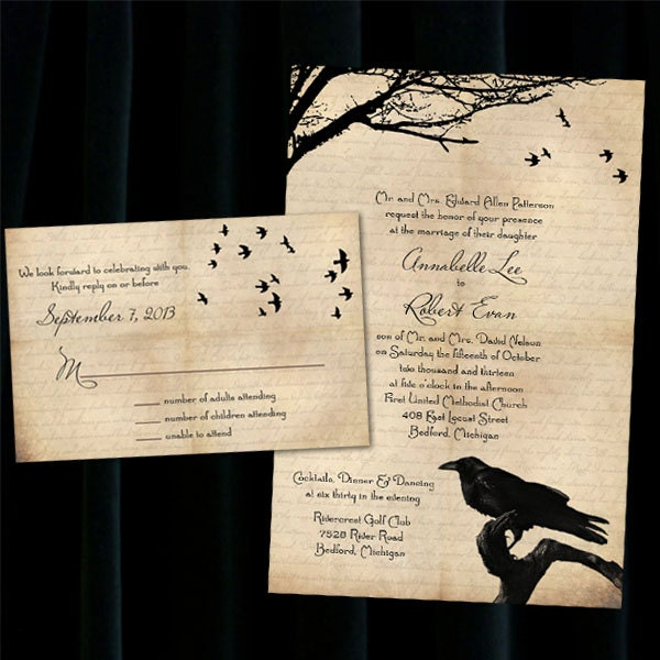 Custom raven halloween wedding invitations for Etsy engagement party invites