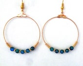 Clearance - Gold hoop earrings - Blue and gold beads