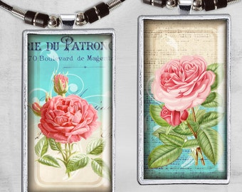 Domino 1x2 inch - Digital Collage Sheet - Instant Download for jewelry pendants, magnets and paper crafts - VINTAGE BEAUTY