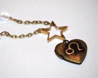 Leo locket, zodiac locket, astrology, Birthday gift, locket necklace, Leo