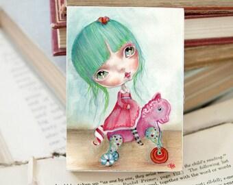 "Miniature woodblock...from my original artwork..'Gertrude"""