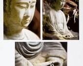 Set of 3 postcards - Buddha, meditation, spiritual, stone, zen, hands, Eastern, brown, grey.