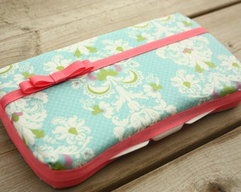 Baby Wipes Case - Stylish and Trendy Baby Wipes Cover with Diaper Strap - For Girls or Boys - Blue Damask pattern with Coral trim and bow