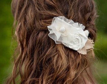 Beautiful Handmade flower Barrette - Hairpiece - Wedding hairpiece - Special occasion hair barrette- Ivory and white flowers - Burlap leaves