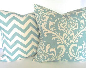 BLUE PILLOWS SET of 2. 16x16 Spa Blue Throw Pillow Covers Damask 16 x 16 Throw Pillow Covers