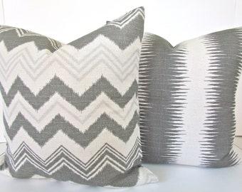 GREY PILLOWS Set of 2. Gray Throw Pillows Grey Pillow Covers Gray Decorative Throw pillows 22x22 26x26 24 Euro Shams Home and Living