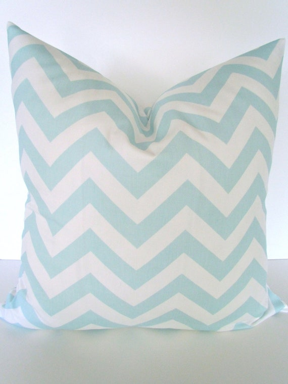 Light Blue Throw Pillow Covers : Items similar to CHEVRON THROW PILLOW Covers Light Blue 18x18 Decorative Throw Pillows Baby Blue ...