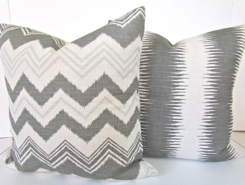 Gray Throw Pillow Covers : GREY PILLOWS Set of 2. Gray Throw Pillow Covers 16x16