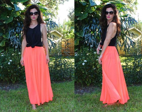Neon Coral Sheer Maxi Skirt