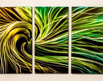 Modern Abstract Painting Metal Wall Art Sculpture Electric Swirl