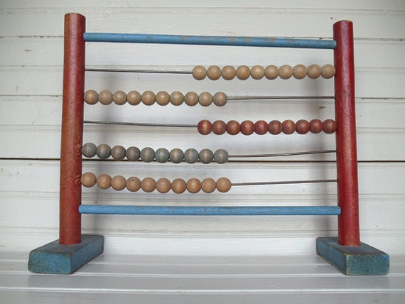 Vintage Colorful Childs Wood Toy Abacus