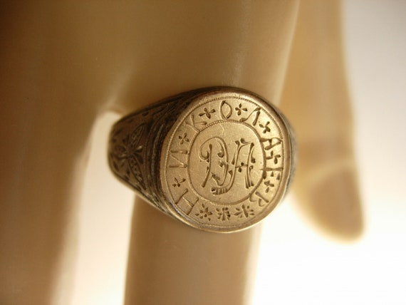 Antique Ukraine  Victorian Ring Sterling Silver  fraternal  Ring 14kt gold top with history