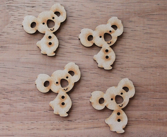 4 Craft Wood Cheeky Koala Buttons, 3.4 mm Wide, Laser Cut Wood