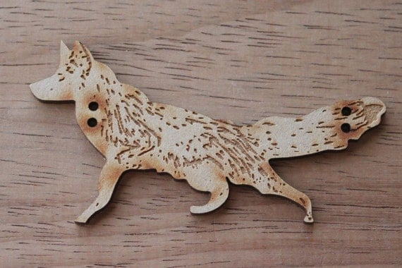 1 Craft Wood Mr Fox Button, 8.5 cm Wide, Laser Cut Wood