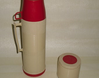Vintage tan and red Thermos insulated vacuum bottle & jar beverage and food set