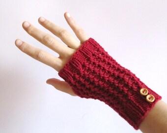 Red handwarmers. Wool knitt mittens. Red mittens. Fingerless Gloves for women. Hand knitted hand warmers red. Women accessories.
