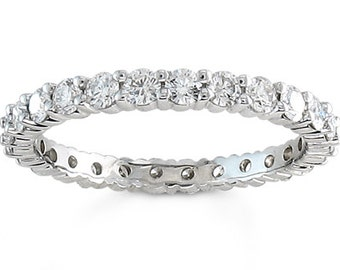Ladies 14kt white gold shared prong 1.75 ctw diamond wedding band with G-VS2 quality diamonds
