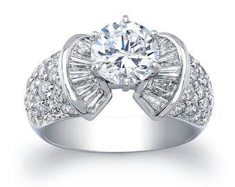 Ladies 18kt white gold diamond engagement ring 2.00 ctw with Pave Round Diamonds and Channel Baguettes