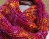 chunky mixed-fiber yarn bright snuggly soft scarf