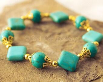 Blue Turquoise Stretch Bead Bracelet Blue Turquoise Gold Bead